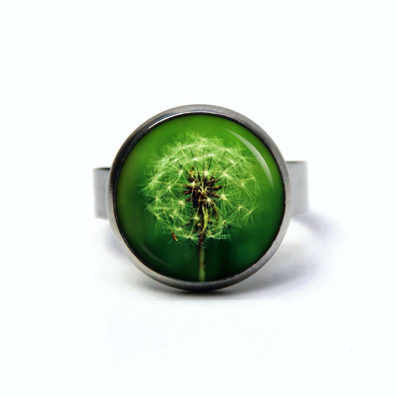 Edelstahl Ring große grüne Pusteblume - verschiedene Größen