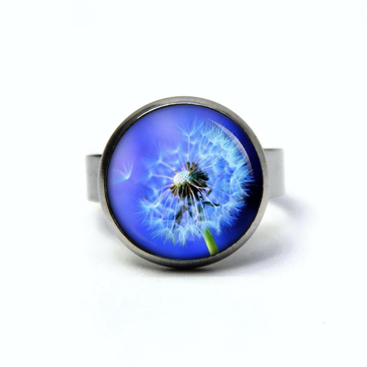 Edelstahl Ring große blaue Pusteblume - verschiedene Größen