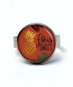 Edelstahl Ring Ananas Life is sweet - verschiedene Größen
