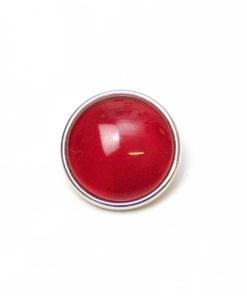 Druckknopf handbemalt in uni Farben Rubin rot