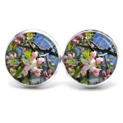 Druckknopf / Ohrstecker / Ohrhänger Apfelbaum Blüten Frühling rosa grün weiß