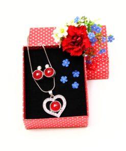 Druckknopf Set kleines Strass Herz mit Anhänger, Kette und Ohrringen - Farbwahl
