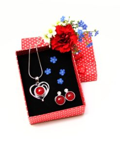 Druckknopf Set kleines Herz mit Anhänger, Kette und Ohrringen - Farbwahl