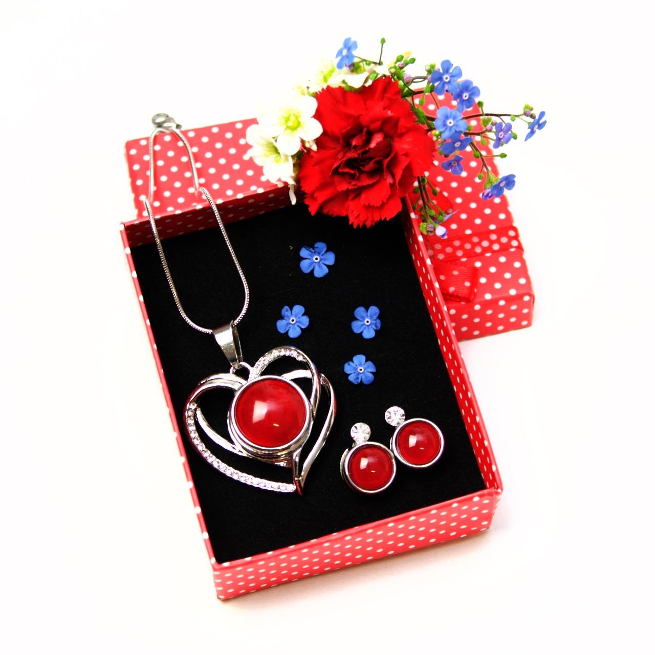 Druckknopf Set Herz mit Strass - Anhänger, Kette und Ohrringen - Farbwahl