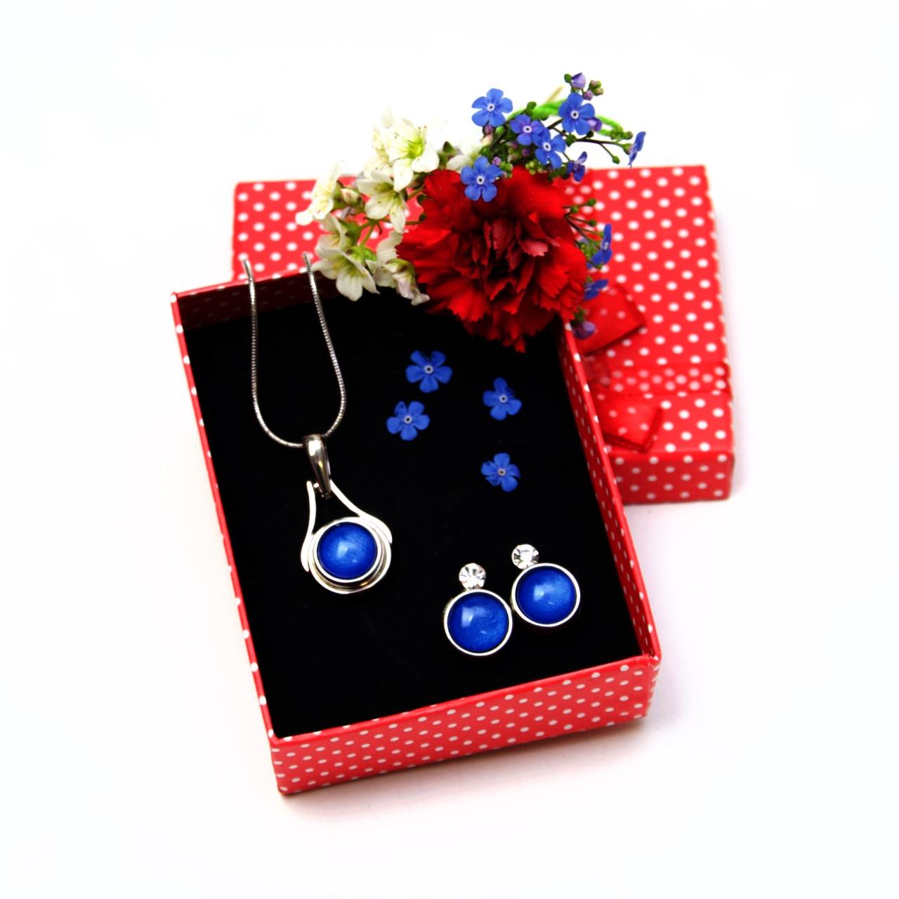 Druckknopf Set eleganter kleiner Anhänger mit Kette und Ohrringe - Farbwahl