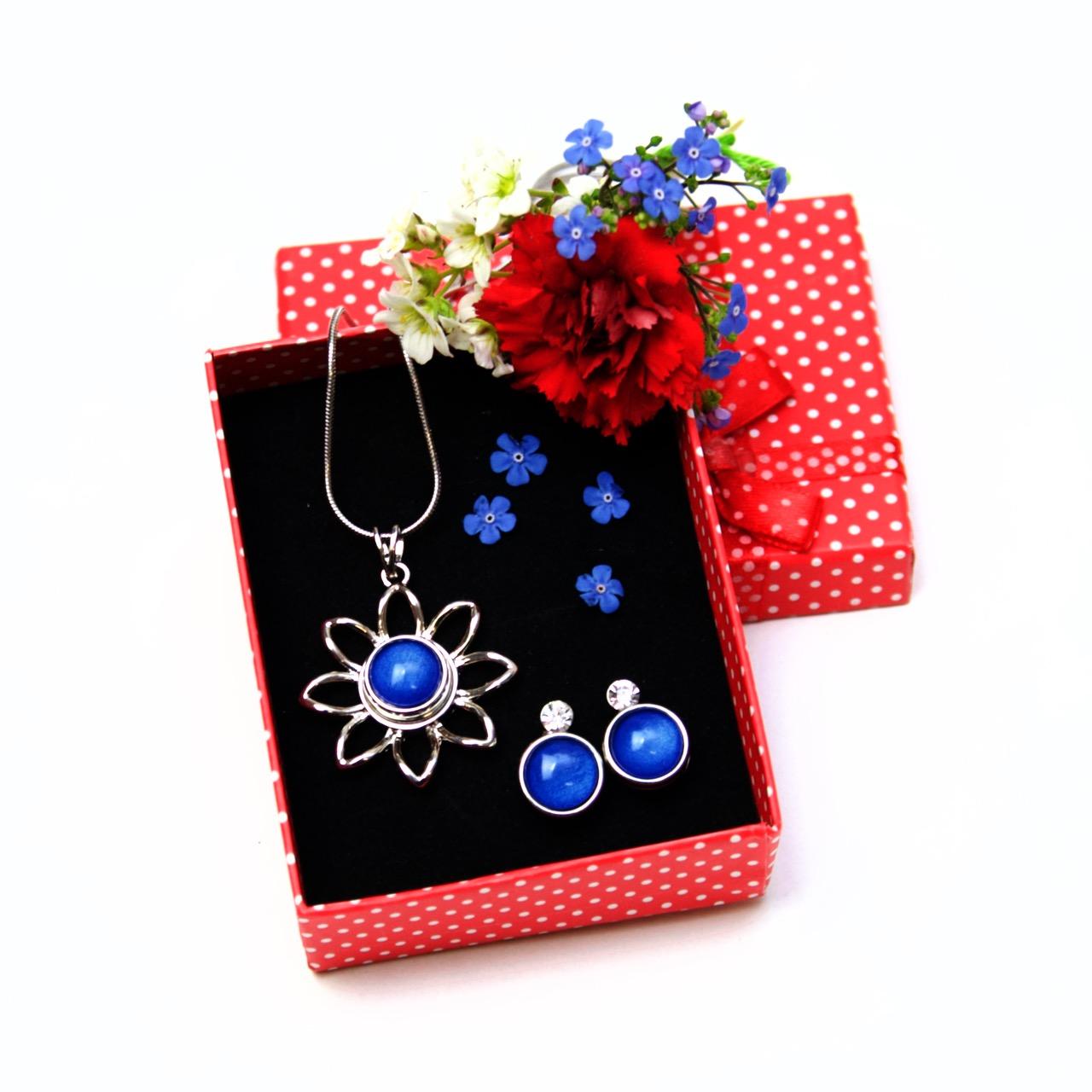 Druckknopf Set Blumen Anhänger mit Kette und Ohrringe - Farbwahl
