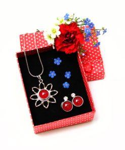 Druckknopf Set Blumen Anhänger mit Kette und Ohrringe