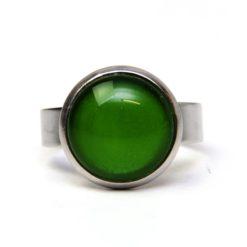 Edelstahl Ring handbemalt kräftig grün - verschiedene Größen