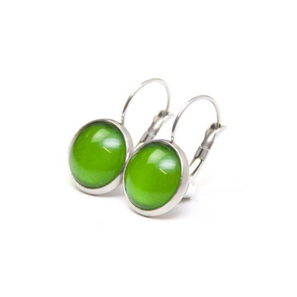 Druckknopf / Ohrstecker / Ohrhänger handbemalt kräftig grün