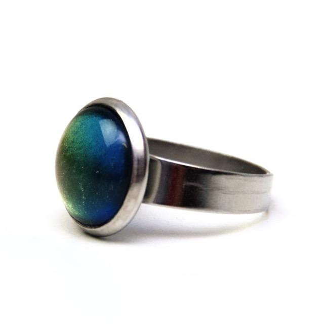 Edelstahl Ring handbemalt Chamäleon gold blau - verschiedene Größen