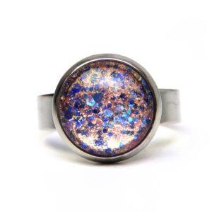 Ring rosa blau glitzernd