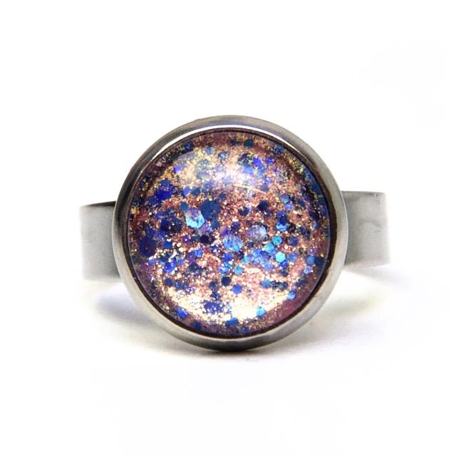 Edelstahl Ring handbemalt rosa blau glitzernd - verschiedene Größen