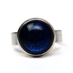 Edelstahl Ring handbemalt dunkelblau glitzernd - verschiedene Größen