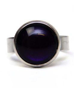 Edelstahl Ring handbemalt dunkel violett - verschiedene Größen