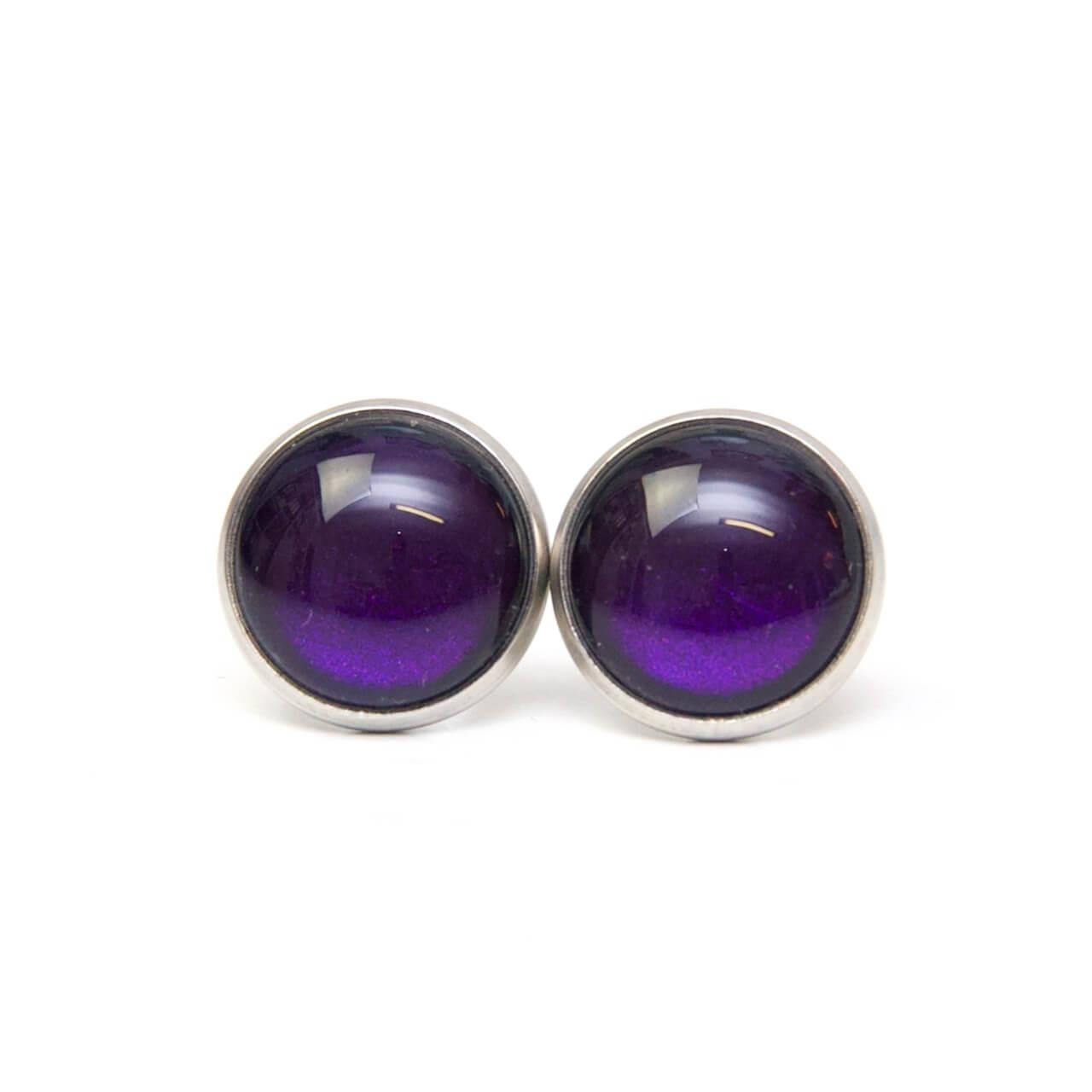 Druckknopf / Ohrstecker / Ohrhänger handbemalt dunkel violett schimmernd