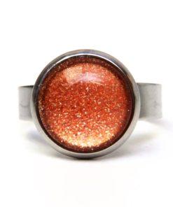 Edelstahl Ring handbemalt gold braun glitzernd - verschiedene Größen