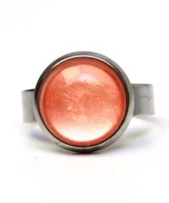 Edelstahl Ring handbemalt pfirsich farben schimmernd - verschiedene Größen