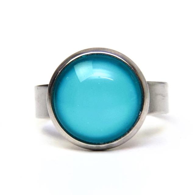 Edelstahl Ring handbemalt kräftig türkis - verschiedene Größen