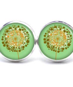 Druckknopf / Ohrstecker / Ohrhänger goldene Pusteblume grün
