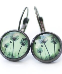 Druckknopf / Ohrstecker / Ohrhänger Pusteblume grün