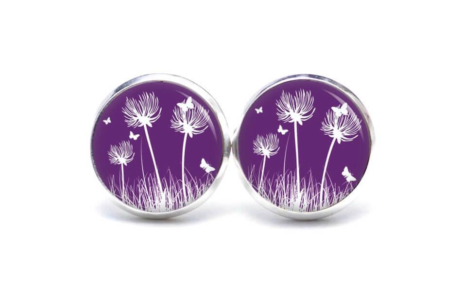 Druckknopf / Ohrstecker / Ohrhänger Pusteblume violet