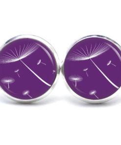 Druckknopf / Ohrstecker / Ohrhänger zarte Pusteblume violet