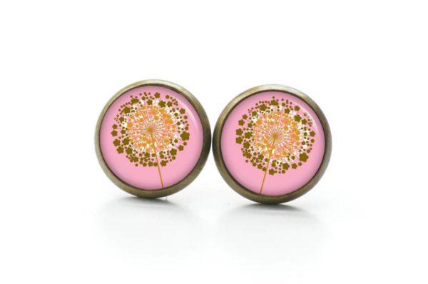 Druckknopf / Ohrstecker / Ohrhänger goldene Pusteblume rosa