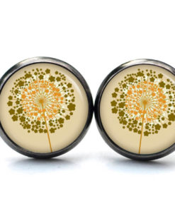 Druckknopf / Ohrstecker / Ohrhänger goldene Pusteblume beige