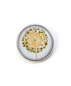 Druckknopf goldene Pusteblume grau