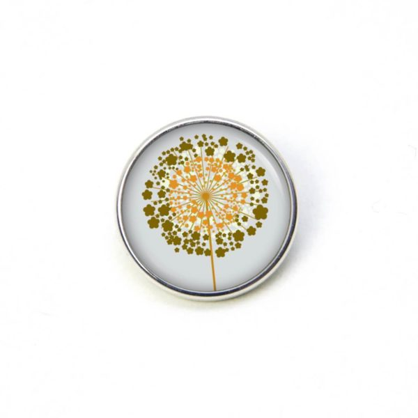 Druckknopf / Ohrstecker / Ohrhänger goldene Pusteblume grau
