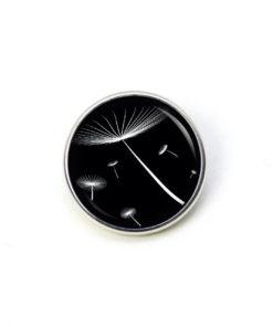Druckknopf zarte Pusteblume schwarz weiß