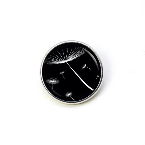 Druckknopf / Ohrstecker / Ohrhänger zarte Pusteblume schwarz weiß