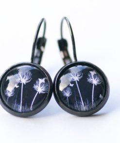 Druckknopf / Ohrstecker / Ohrhänger Pusteblume schwarz weiß