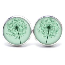 Druckknopf / Ohrstecker / Ohrhänger große zarte Pusteblume grün