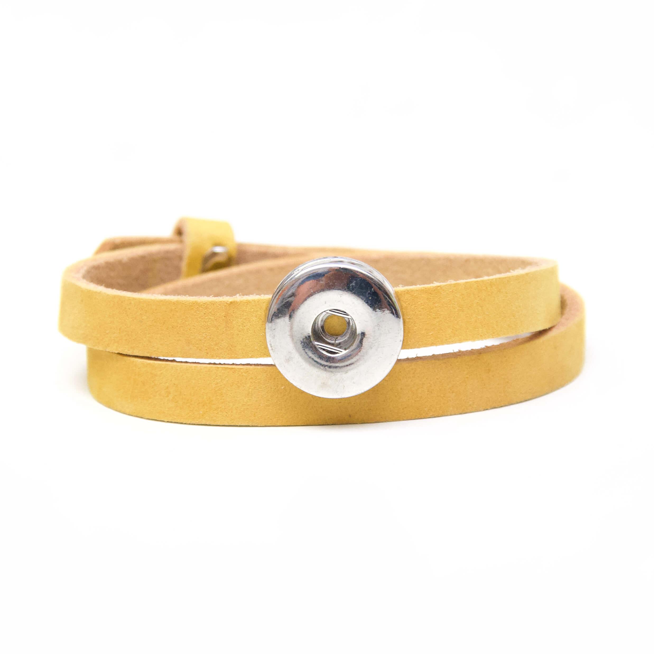 Druckknopf Lederarmband in gelb für 16mm Druckknöpfe