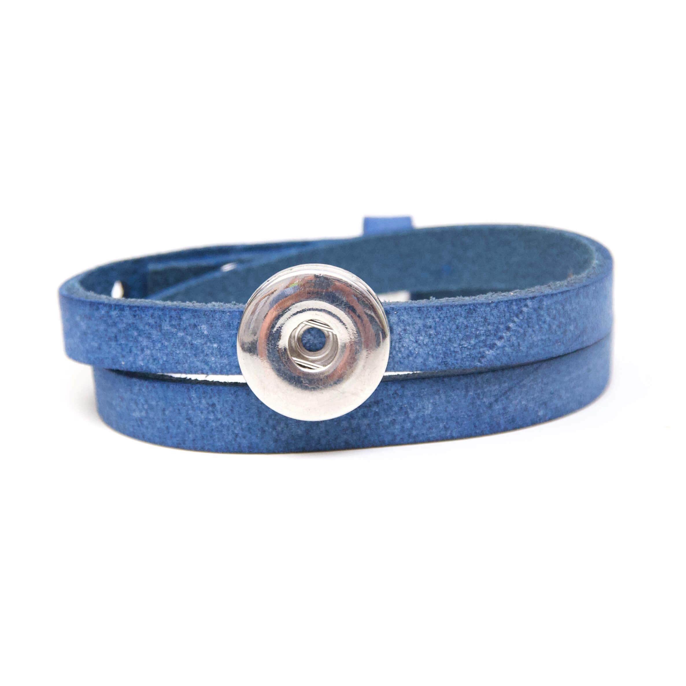 Druckknopf Lederarmband in königsblau für 16mm Druckknöpfe