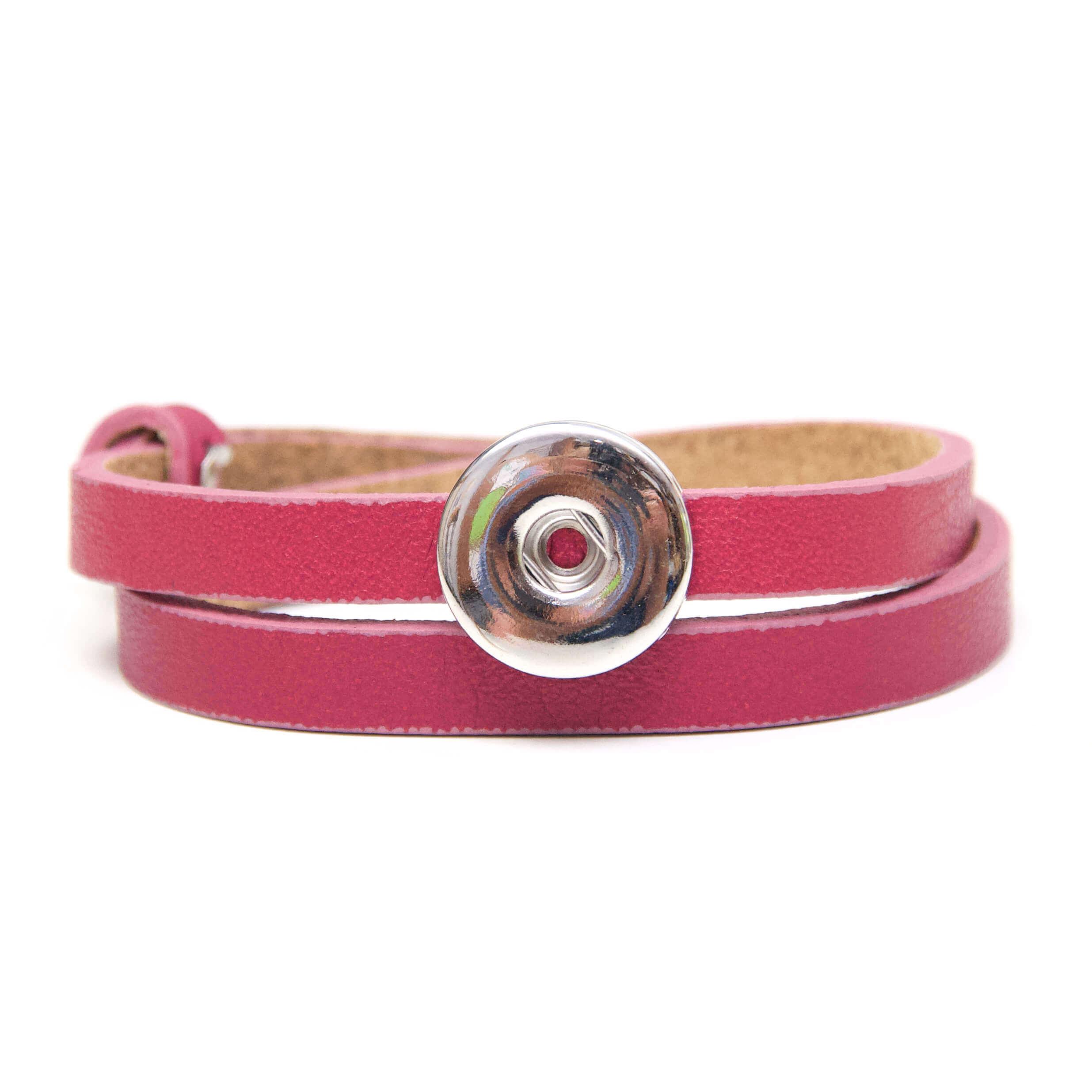 Druckknopf Lederarmband in rosarot für 16mm Druckknöpfe