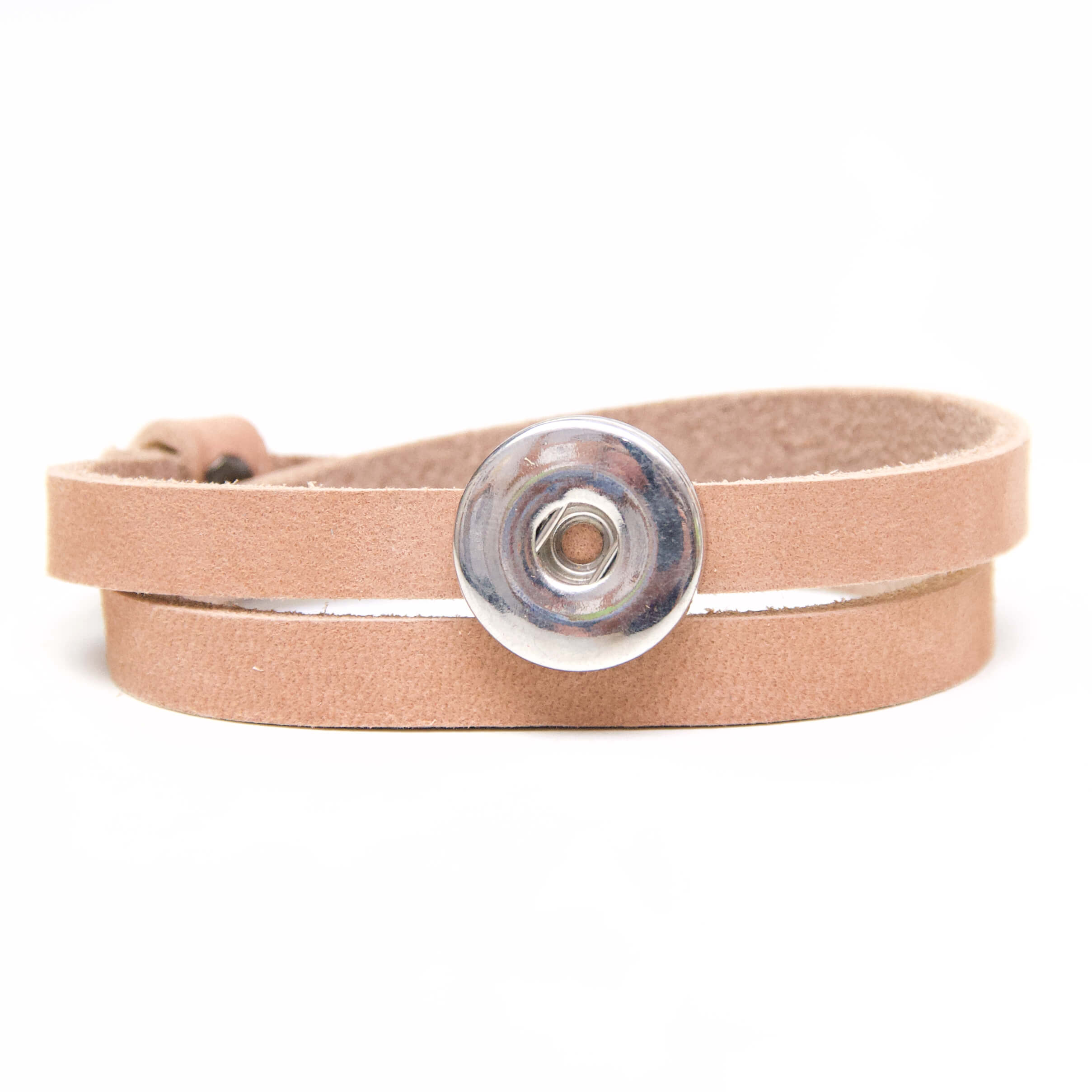 Druckknopf Lederarmband in sandstein für 16mm Druckknöpfe