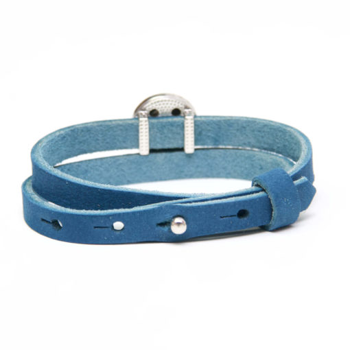 Druckknopf Lederarmband in blau für 16mm Druckknöpfe
