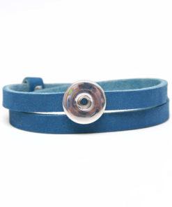 Druckknopf Lederarmband in blau