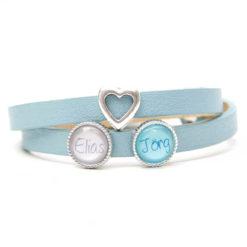 Lederarmband hellblau mit 2 Schiebeperlen und Herz - Wunschtext - Farbwahl