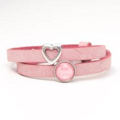 Zart rosa Lederarmband mit 1 Wunsch Namen und Herz - Farbwahl