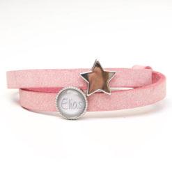 Zart rosa Lederarmband mit 1 Wunsch Namen und Stern - Farbwahl