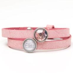 Zart rosa Lederarmband mit Wunschtext und Foto - Farbwahl