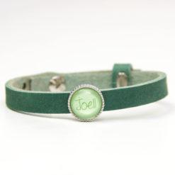 Grünes Lederarmband mit 1 Wunsch Namen - Farbwahl