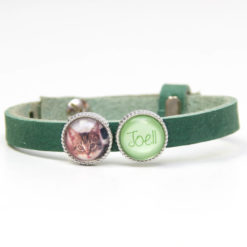 Grünes Lederarmband mit Wunschtext und Foto - Farbwahl