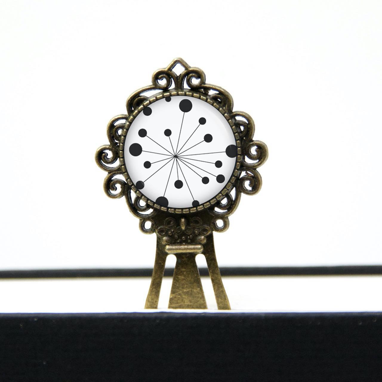 Lesezeichen Klammer mit schwarz weißer Pusteblume