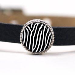 Schiebeperle Pusteblume schwarz weiß für 8mm Lederarmbänder