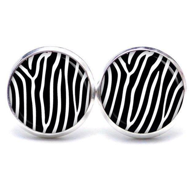 Druckknopf / Ohrstecker / Ohrhänger mit Zebra Muster