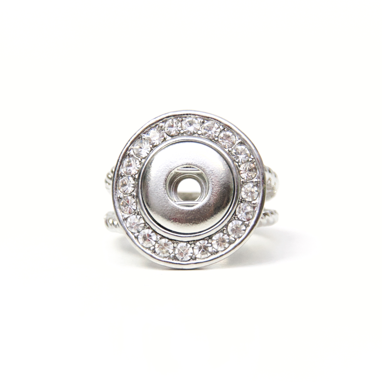 Druckknopf Ring mit Strass für 10mm Druckknopf